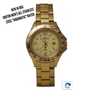 """Croton Stainless Steel """"Aquamatic"""" Watch Gold Tone"""